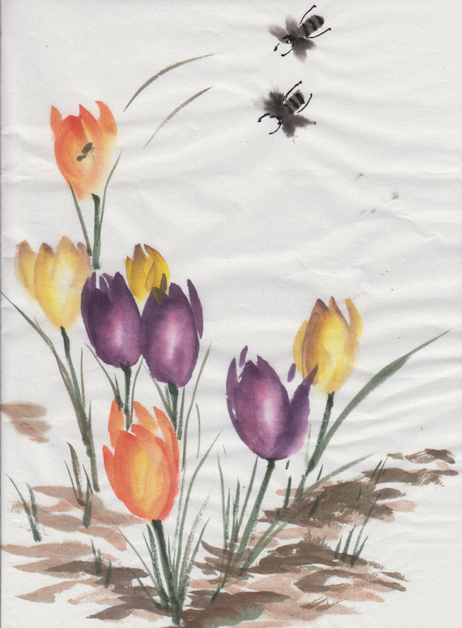 Crocus & Bees (Chinese Watercolour)