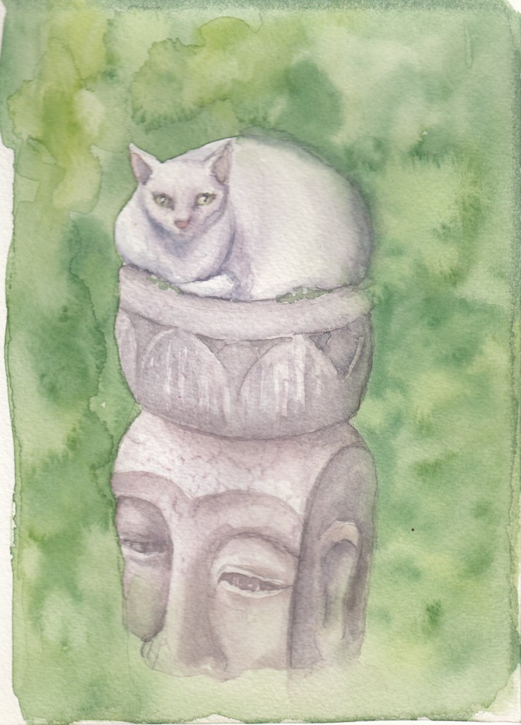 watercolour cat sitting in a stone planter cat