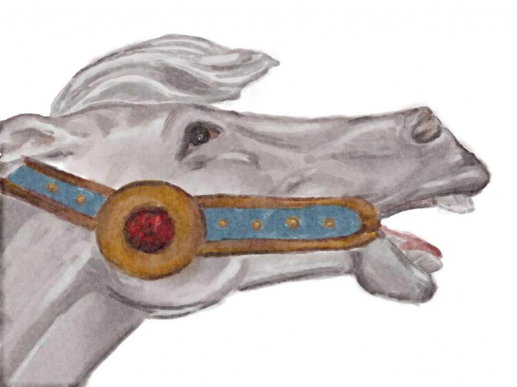 carousel pony (digital watercolour)