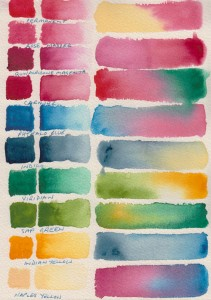 Watercolour test-swatches