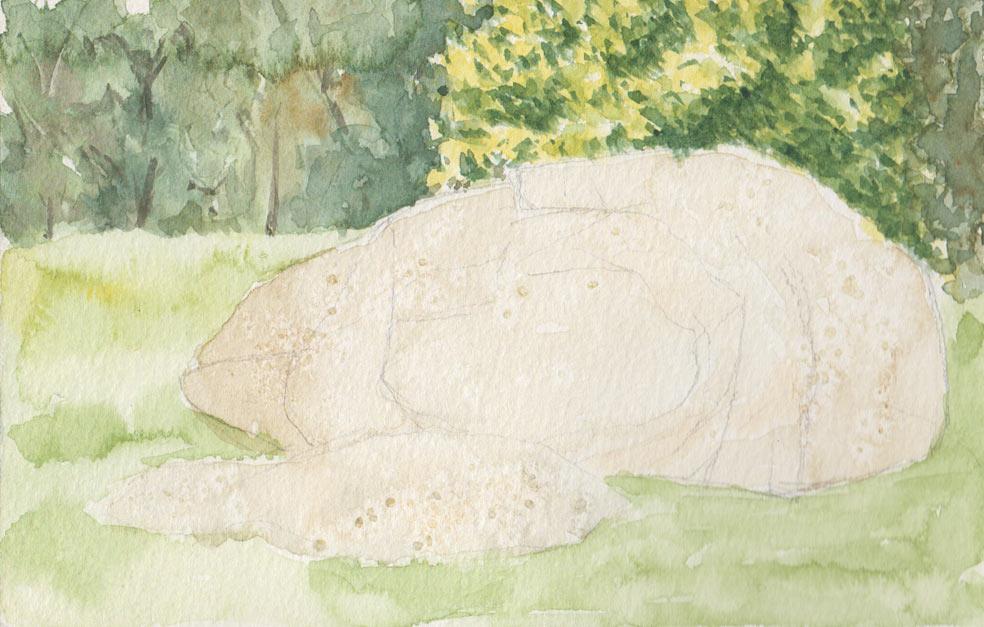 Stone Boulder (Watercolour)