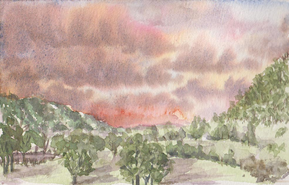 Hunter Valley Sunset (Watercolour)