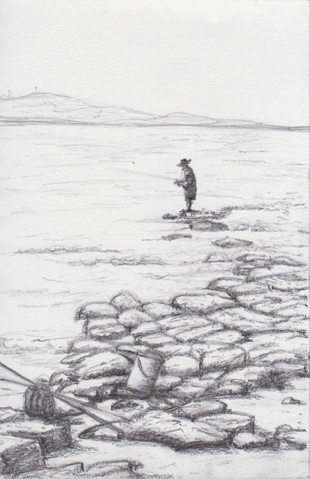 Fishing at Culburra (graphite)