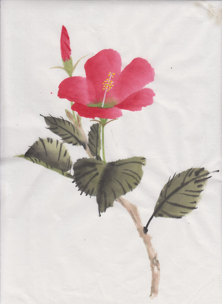 Pink Hibiscus (Chinese Spontaneous Style)