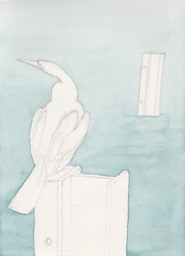 Cormorant on Post (Watercolour)