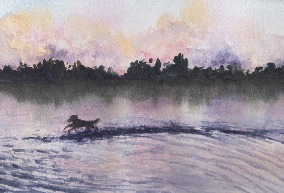 Mackey Park Pond (Watercolour)