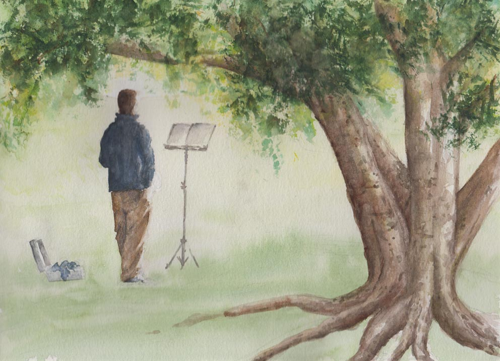 Morning practice (Watercolour)