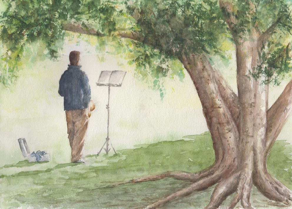Morning practice (Watercolour)