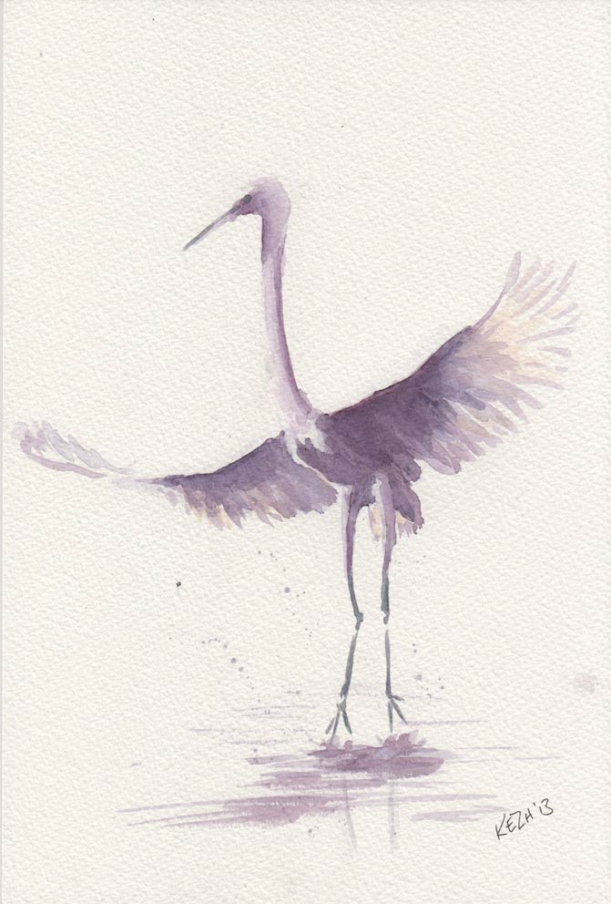 The Partner - Great White Egret  (Watercolour)
