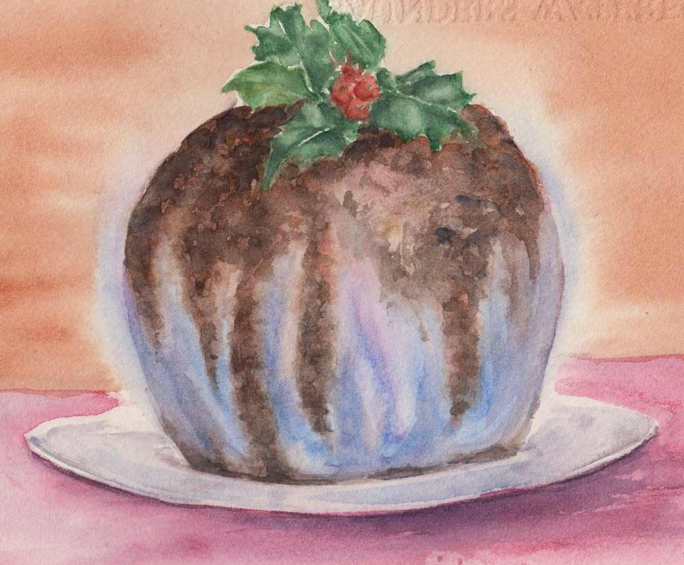Christmas Pudding (Watercolour)