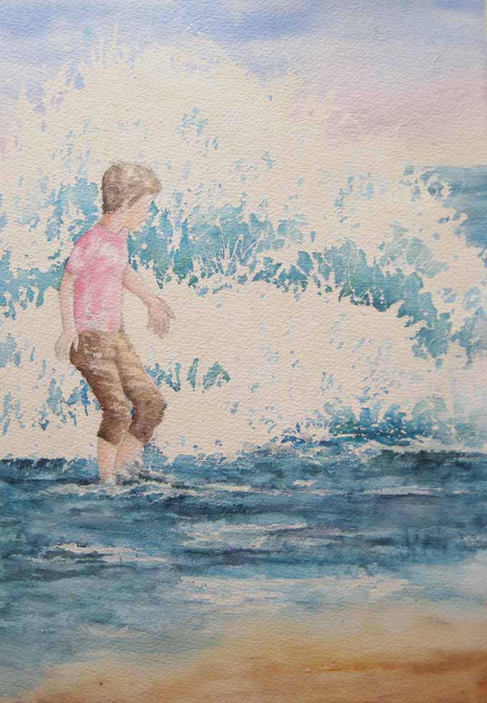 An Unexpected Wave (Watercolour)