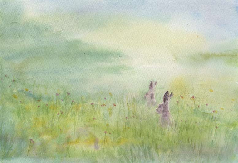 Fuzzy Bunnies (Watercolour)